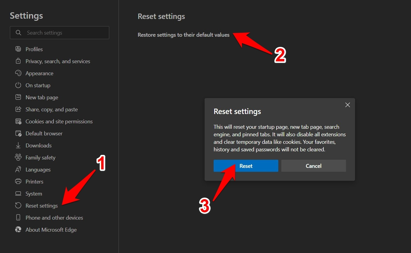 Reset the Microsoft Edge Browser on Computer