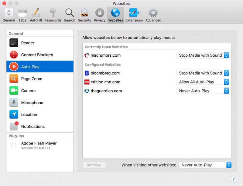 Safari Mac Website Preference
