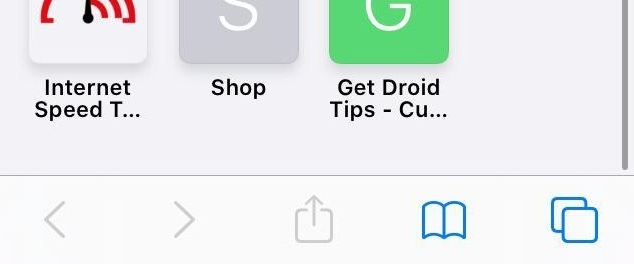 Safari iOS Navigation and Share Button