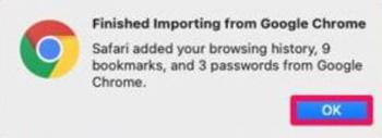 Safari import Browsing History Passwords and Bookmarks