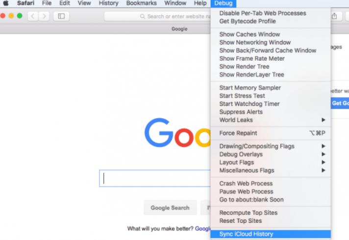 Safari macOS Sync iCloud History option