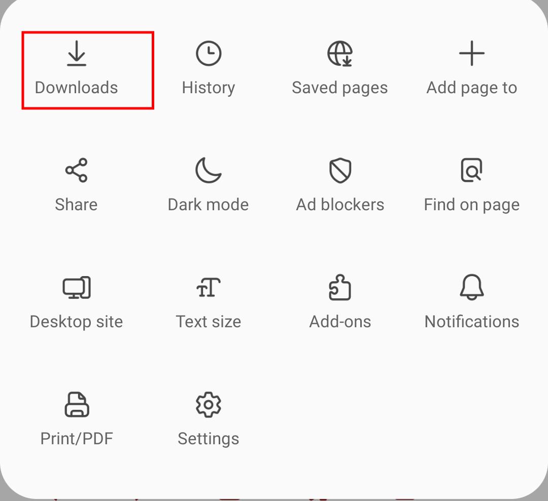 Samsung Internet Download menu