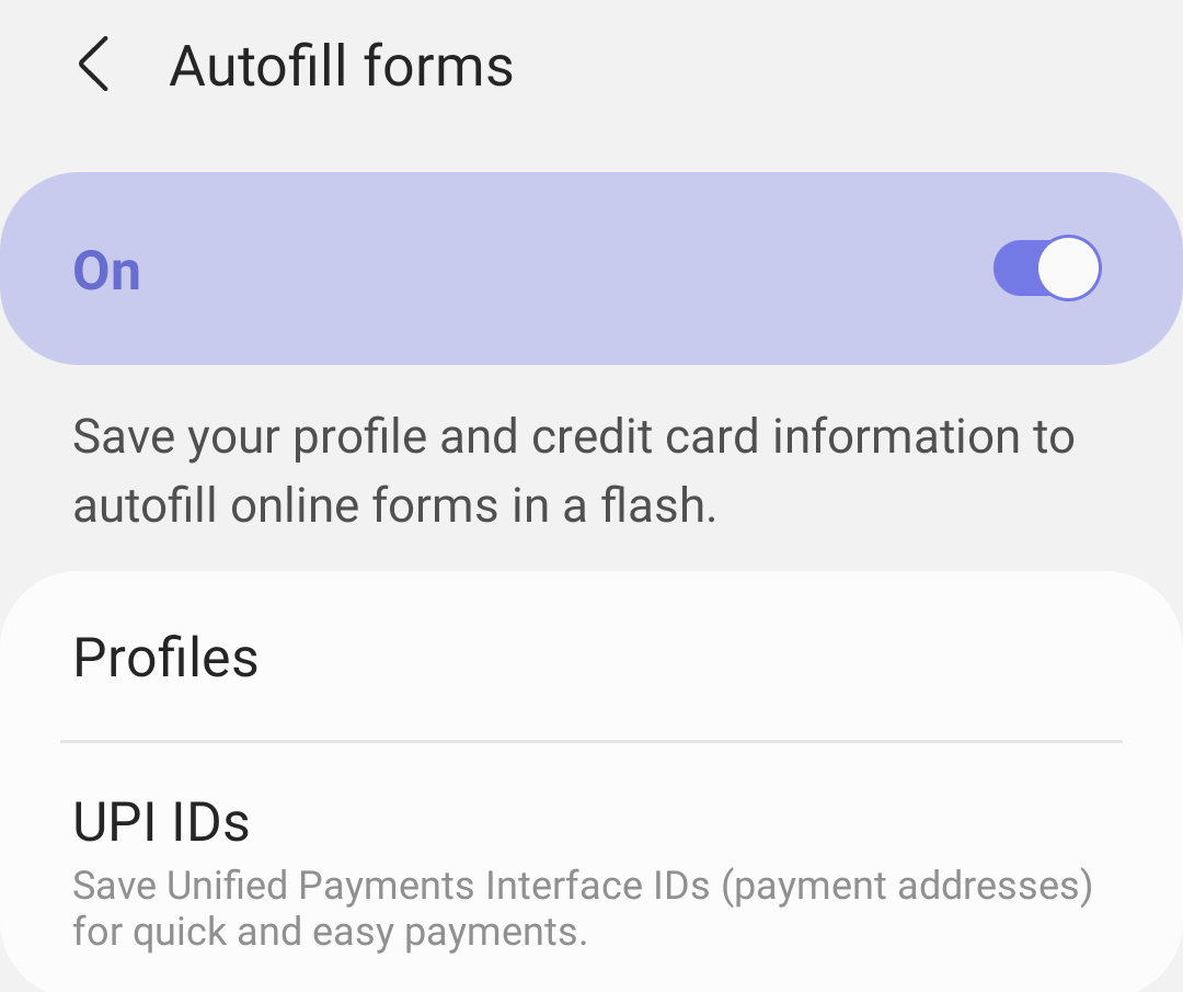 Samsung Internet UPI payment