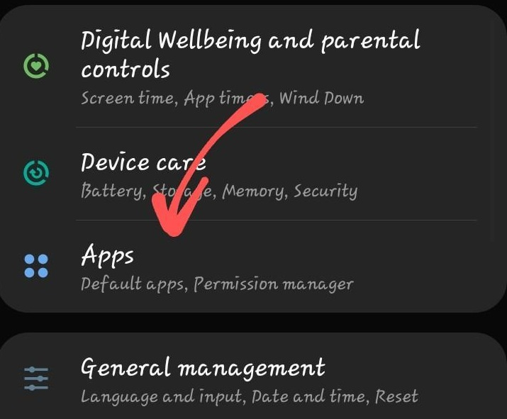 Samsung Mobile Apps Settings Tab