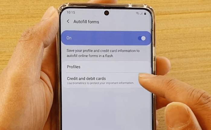 Samsung Internet Credit and debit cards option
