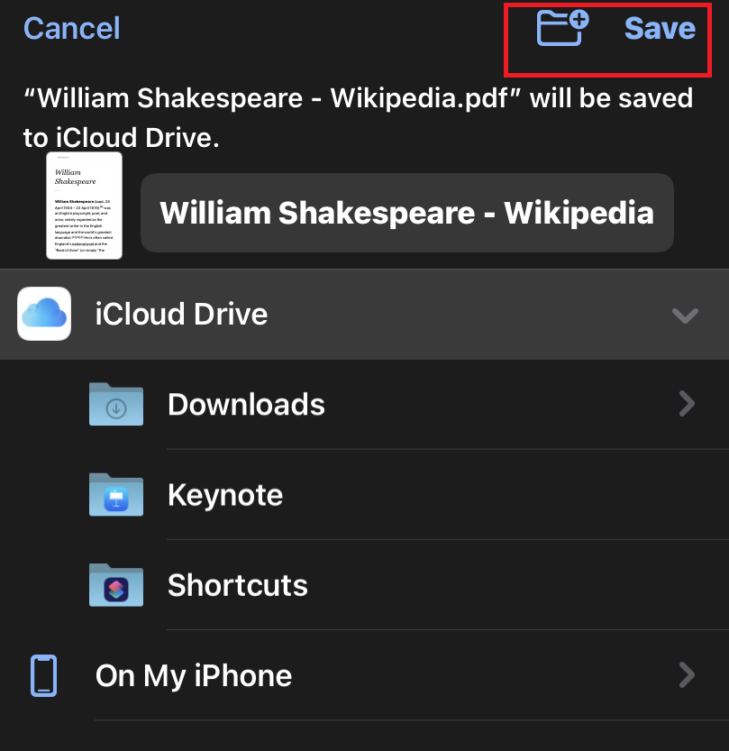 Save the Print as PDF file from Chrome iOS in iPhone Folders