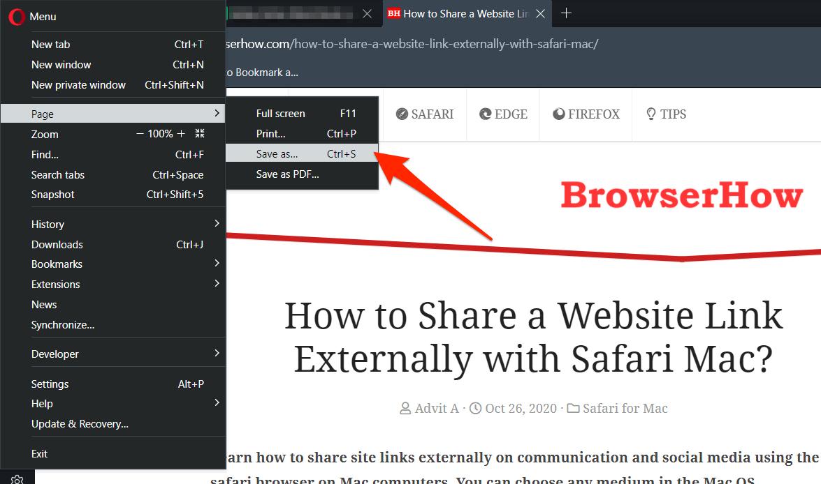 Save as Webpage Menu on Opera Browser