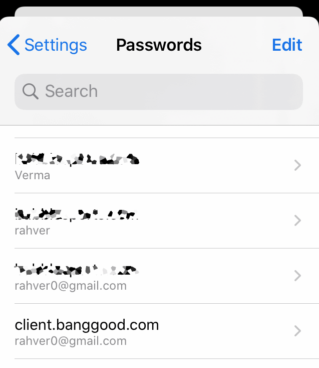 Saved Passwords List in Chrome iPhone