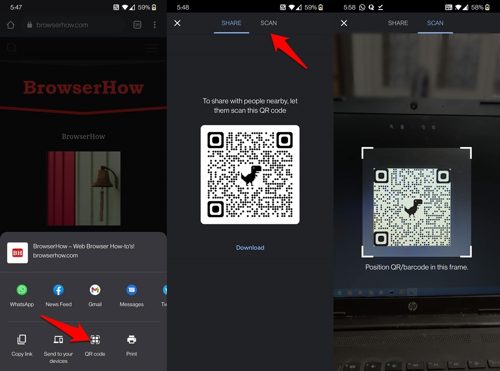 Scan QR code directly from Chrome Android browser