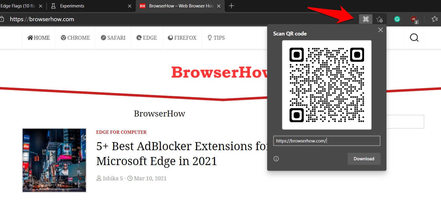 Scan QR code feature in edge browser