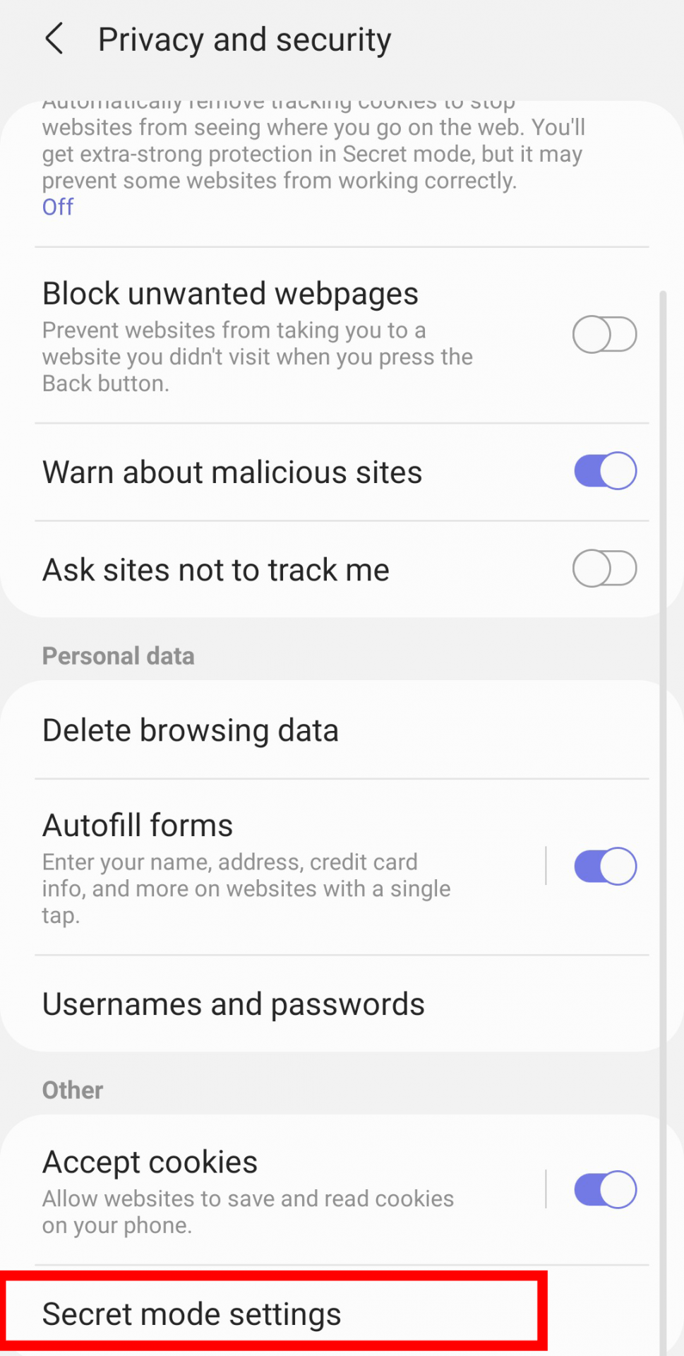 how to set password for Secret mode in Samsung internet