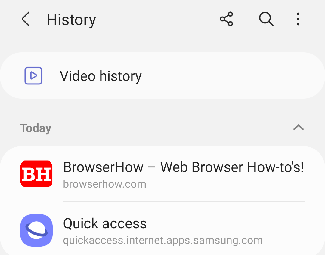 Reopen Recently Closed Tabs in Samsung Internet using history