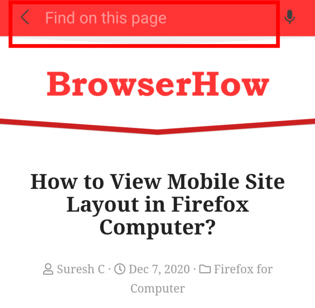 Find on page search box in Samsung Internet