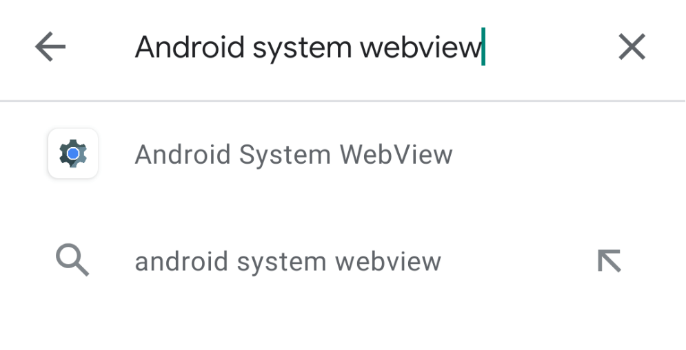 Search Android System WebView result
