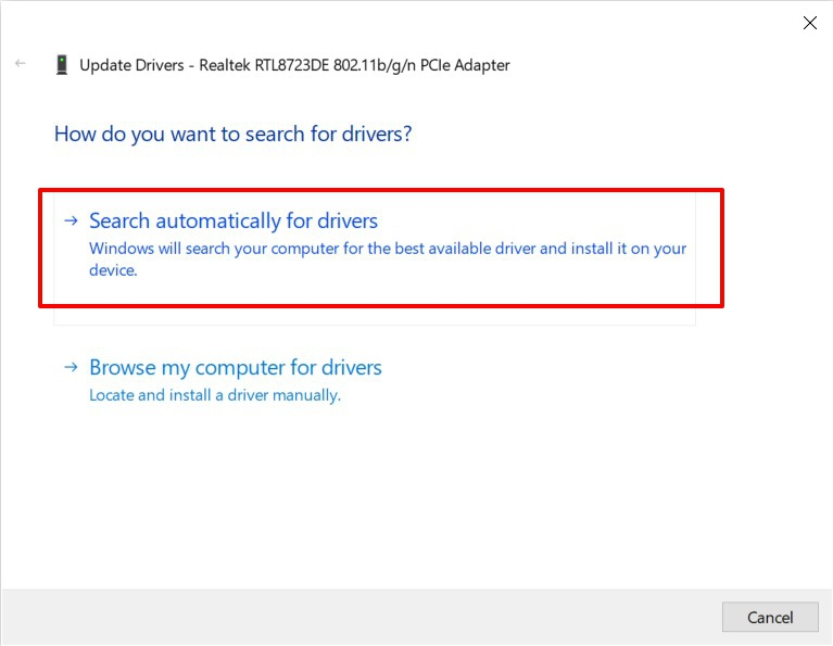 Search automatically for driver updates in Windows OS