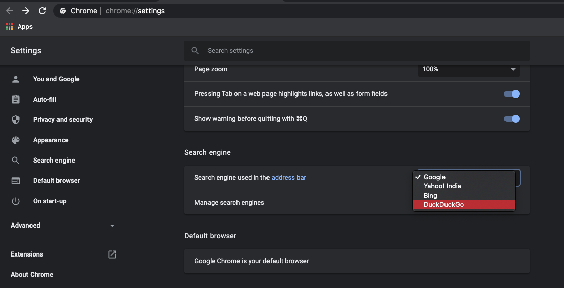 Search Engine Settings in Chrome Computer