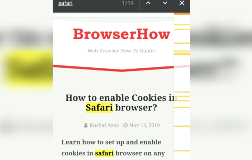 Search in Page on Chrome Android