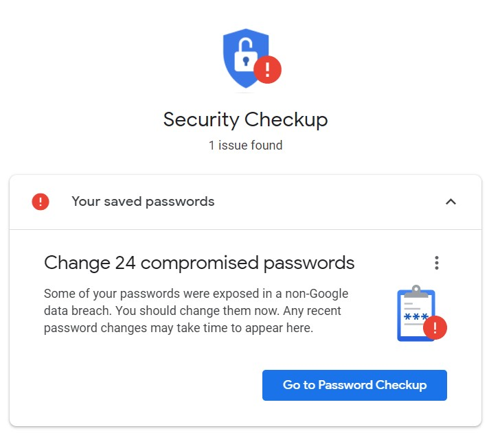 Security Checkup for compromised passwords in chrome