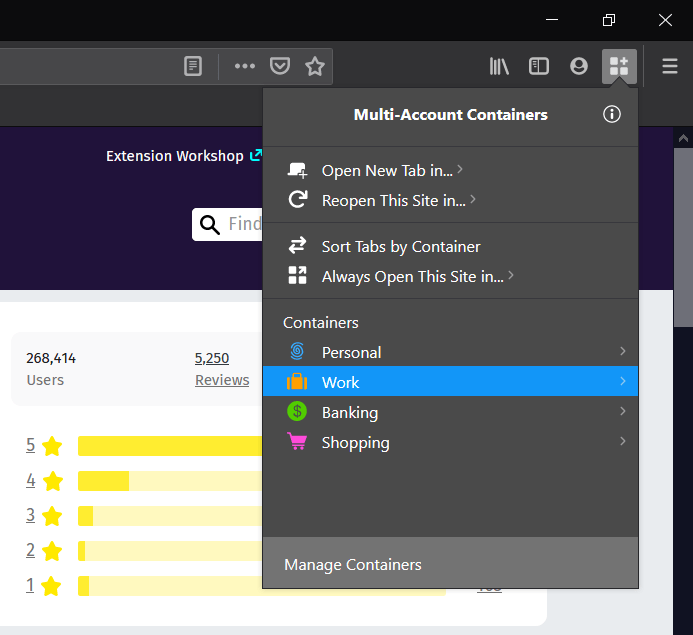 Select the Firefox containers to open in browser