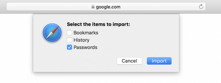 Select the Items to Import on Safari Browser
