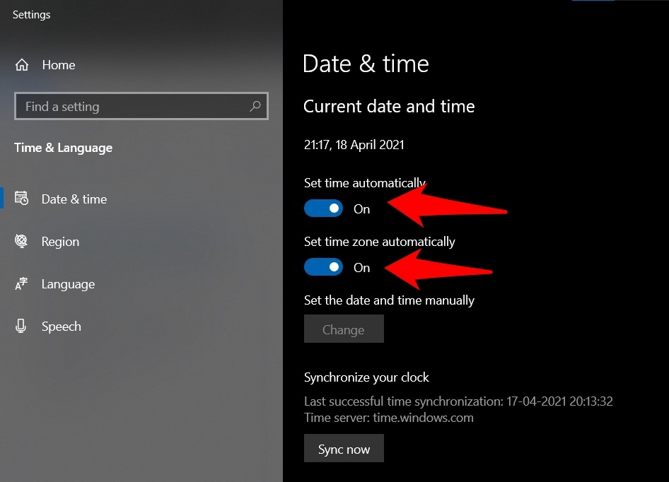Set Time and Date Automatically in Windows OS
