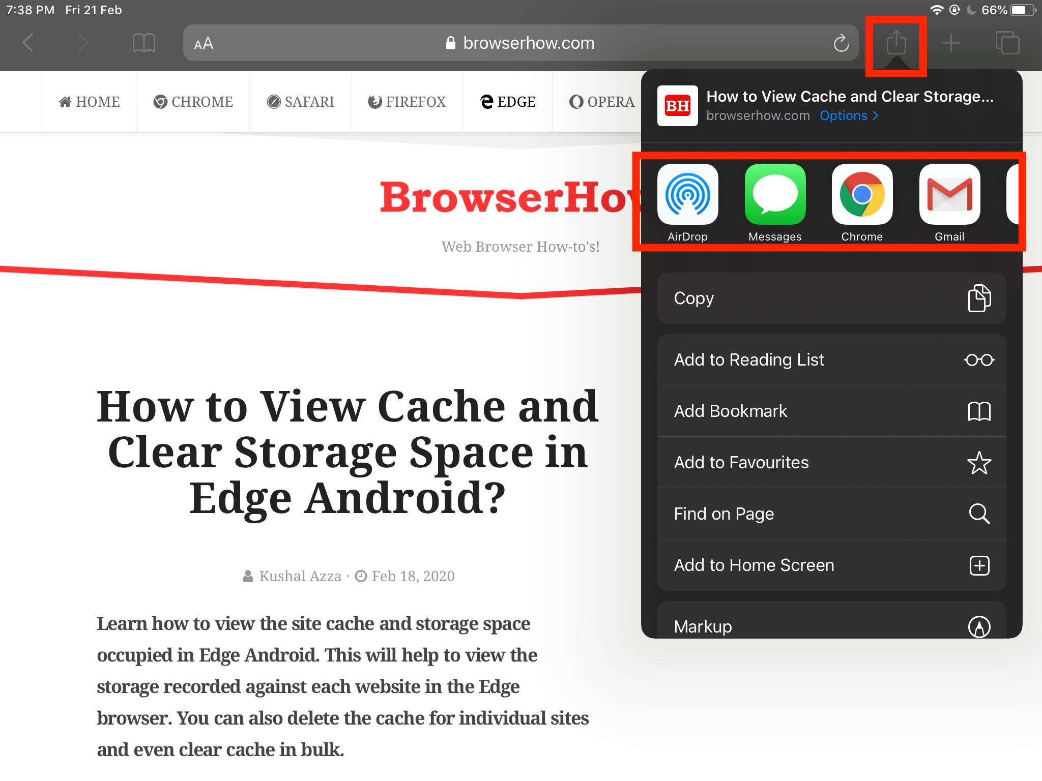 Share Website Link via External App on iPhone or iPad