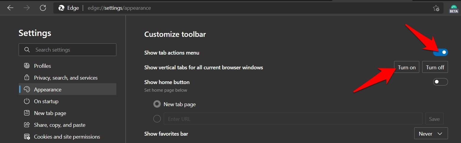 Show Tab action menu and enable vertical tabs in Microsoft Edge