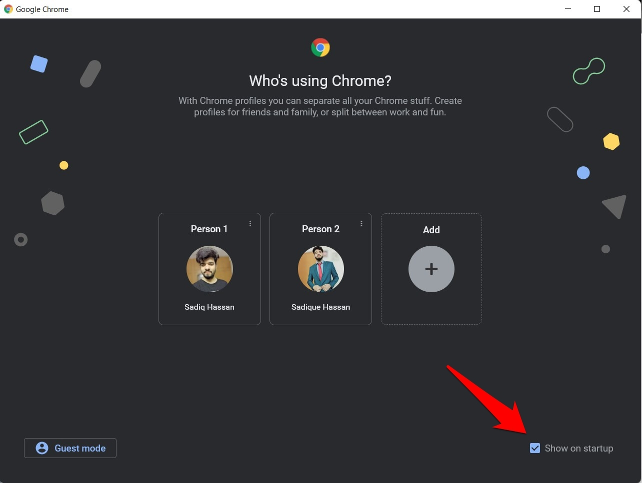Show on Startup option in Chrome