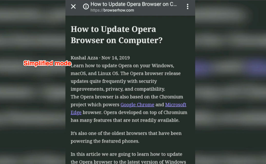 Simplified readers mode on Chrome Android