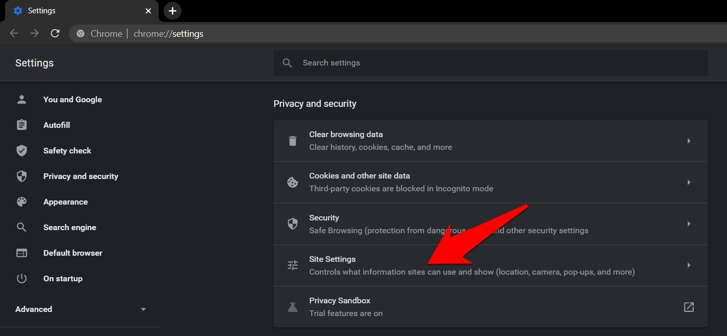 Site Settings Tab in Chrome Computer