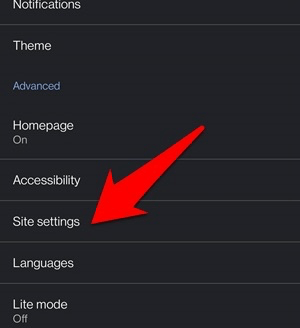 Site Settings tab in chrome android