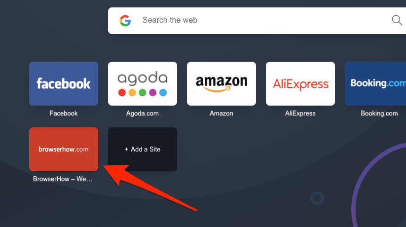 Site Added to Opera Home Screen Shortcut Speed Dial