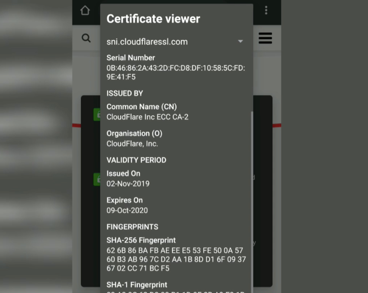 Site Information Certificate Details Chrome Android