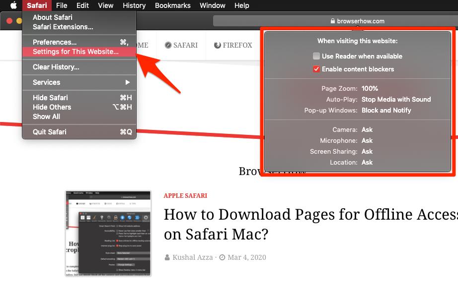 Site Settings for Website in Safari MacBook macOS
