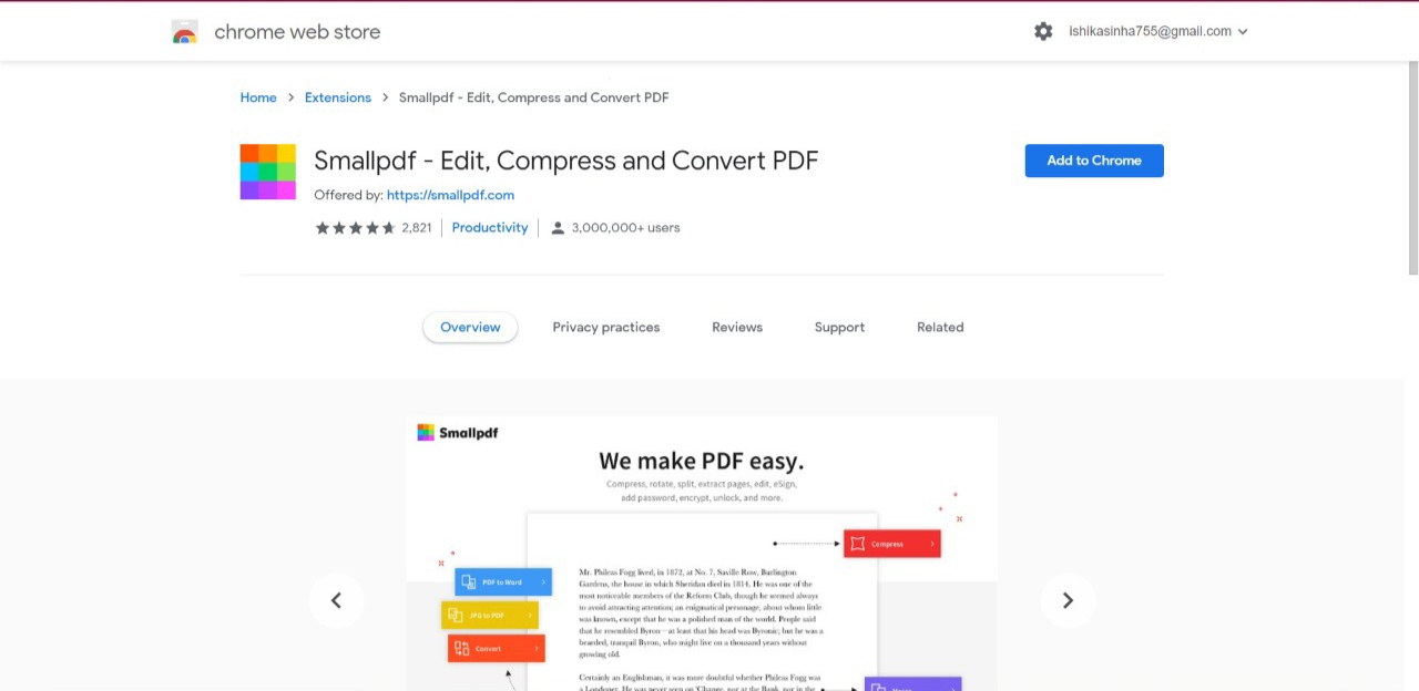 SmallPDF Chrome Extension to edit, compress and Convert PDF