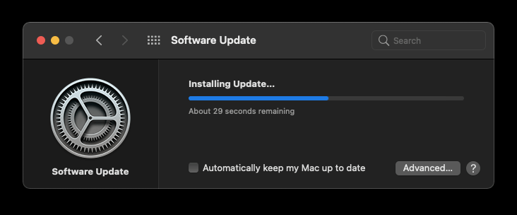Software Update Installing on MacOS