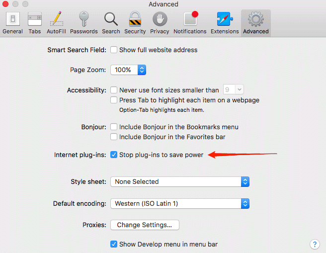 Stop plug-in to save power option in Safari preferences