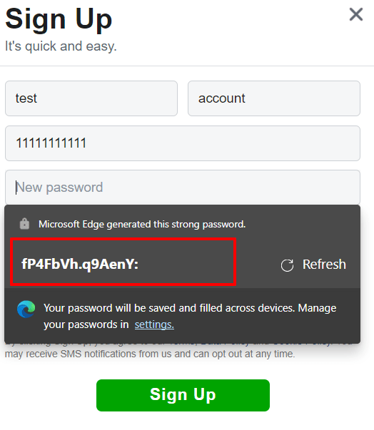 Strong password generated with Microsoft Edge
