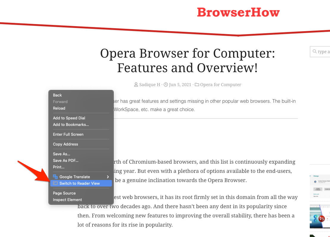 Switch to Reader View context menu in Opera Computer browser