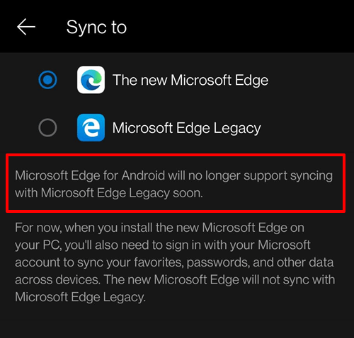Sync Data to Microsoft Edge Chromium as Legacy will no longer supported