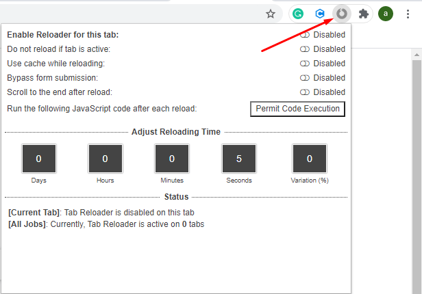 Tab Reloader Settings icon in Chrome