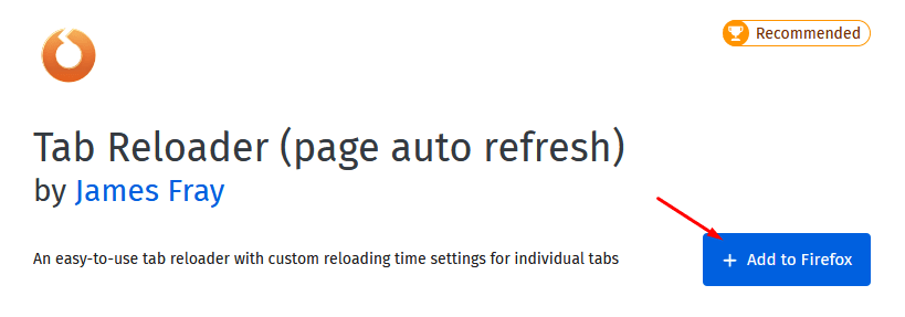 Tab Reloader (page auto refresh) Firefox extension
