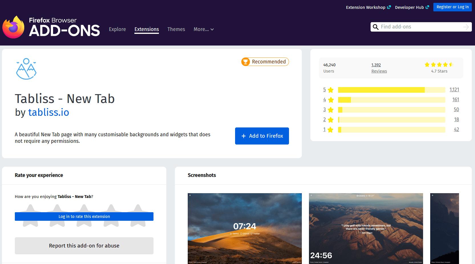 Tabliss New Tab Firefox Add-on