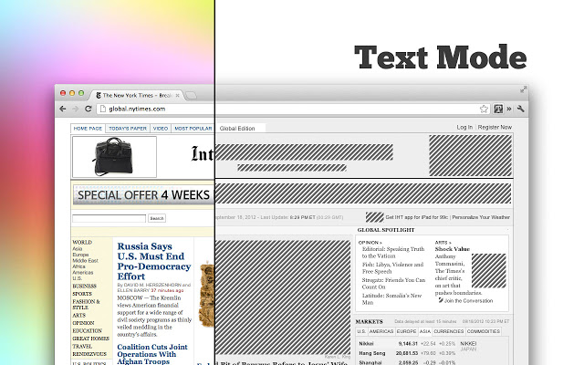 Text Mode transform text-only Browser Extension