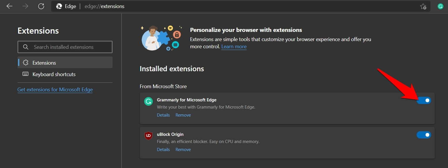 Toggle button to enable and disable the Edge browser extensions