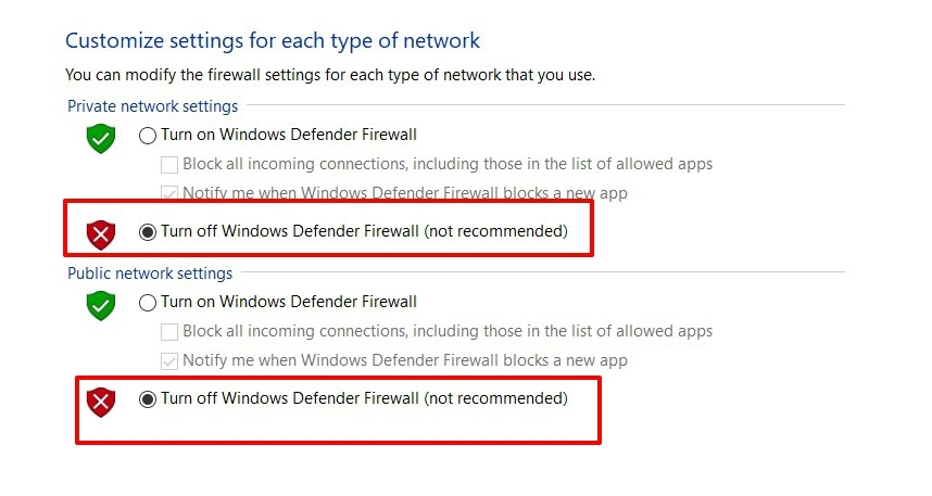Turn Off Windows Defender Firefox in Computer