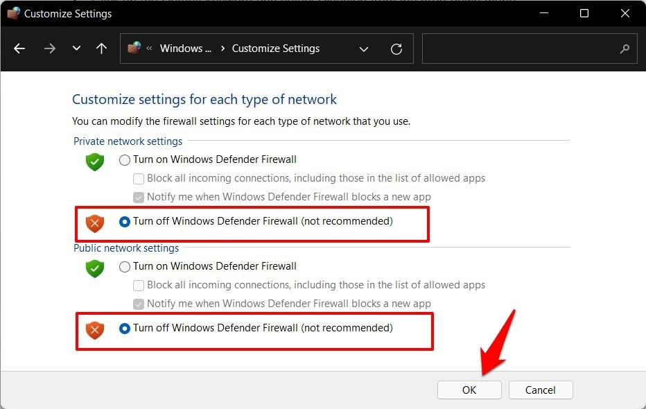 Turn Off Windows Defender Firewall in Windows PC