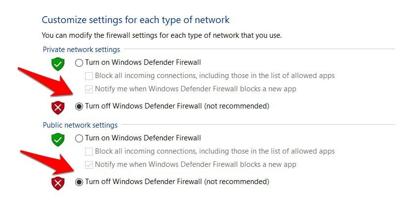 Turn off Windows Defender Security