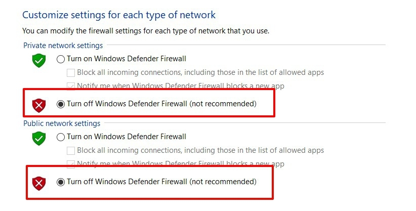 Turn off windows defender firewall for public and private