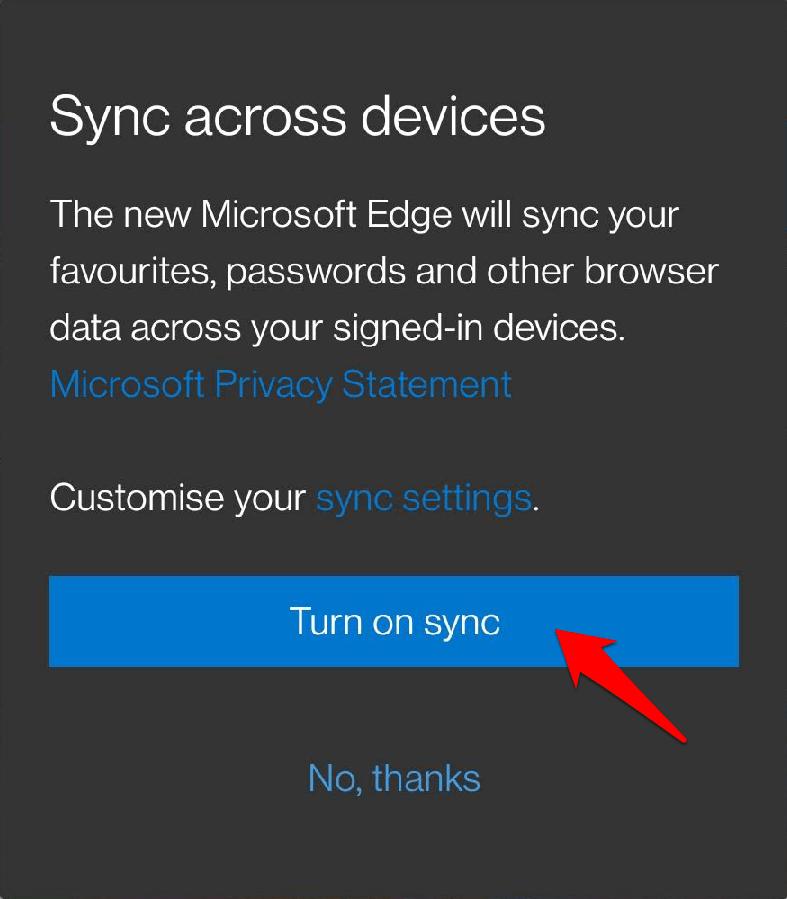 Turn on Sync in Microsoft Edge Chromium Android